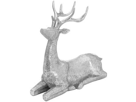 silver sitting deer ornament   silver stag